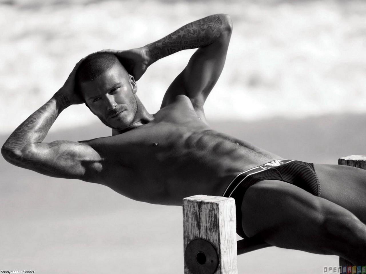 David Beckham modeling naked
