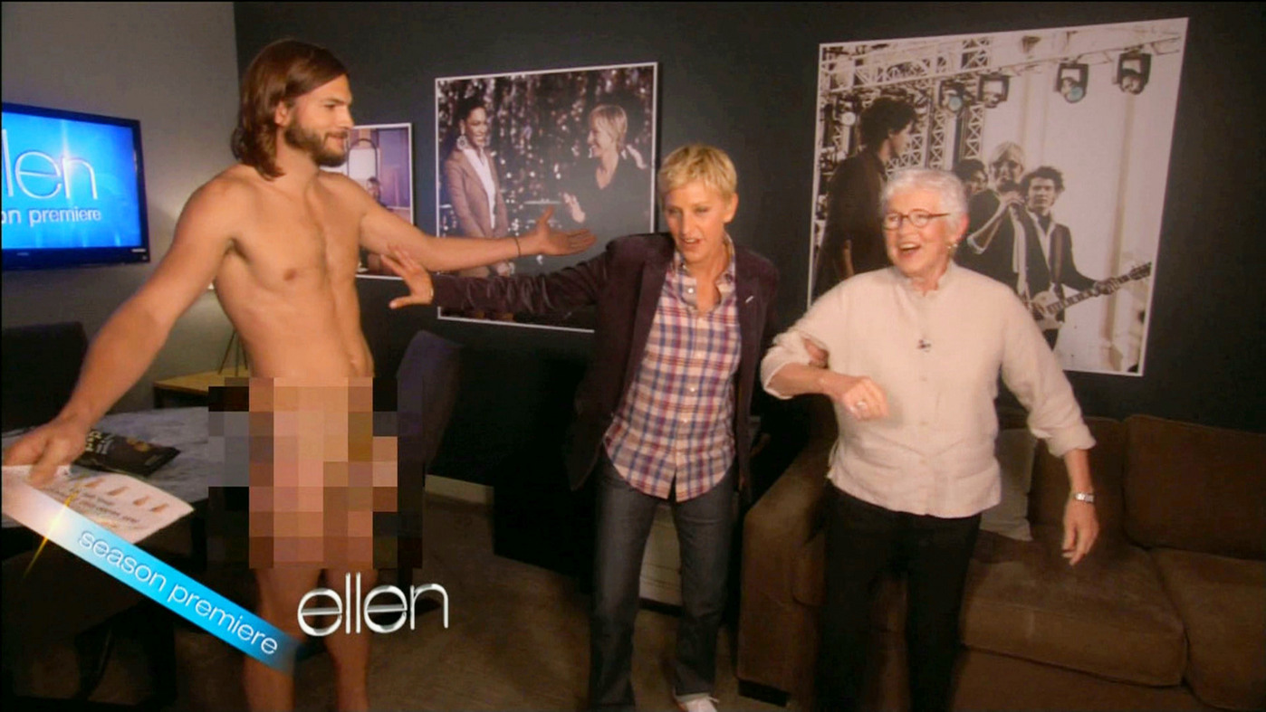 "NUDE, WHERE'S MY CAR - Ashton Kutcher strips down and gets naked on Ellen Degeneres' talk show as he promotes ""Two and a Half Men"""