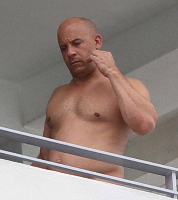 Vin Diesel Shows Off His Shirtless Bod on a Balcony1